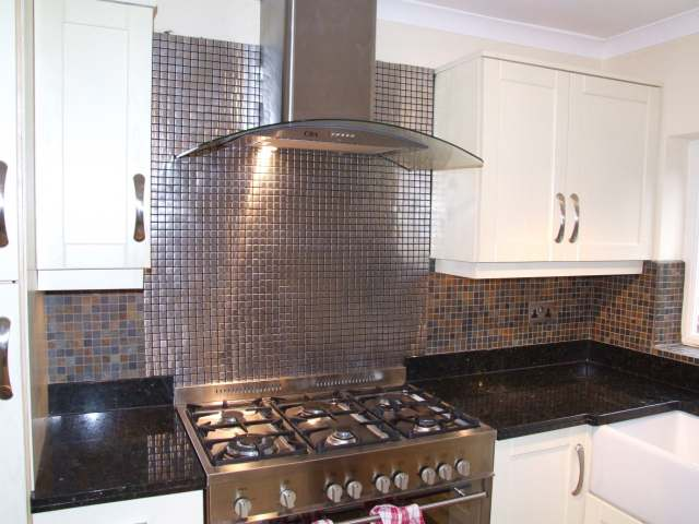 stainless steel and slate mosaics