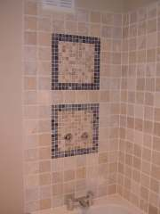 tumbled marble with natural stone mosaics