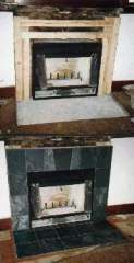 slate face and hearth